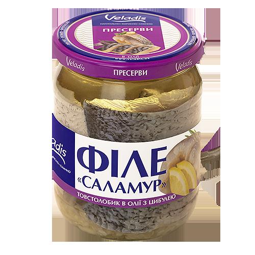 """Філе """"Саламур"""" товстолобик в олії з цибулею"""