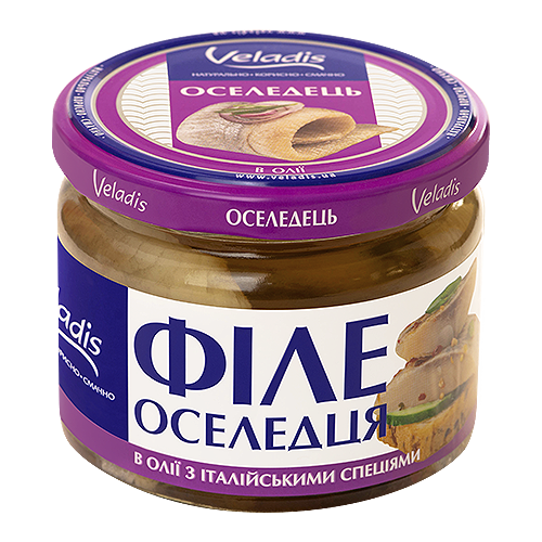 Herring fillet in oil with italian spices